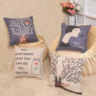 Vintage Blue Deer Cushion Cover