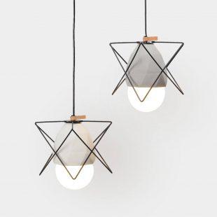 Diamond Concrete Geometric Cage Light