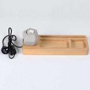Geometric Concrete Ash Wood Table Lamp