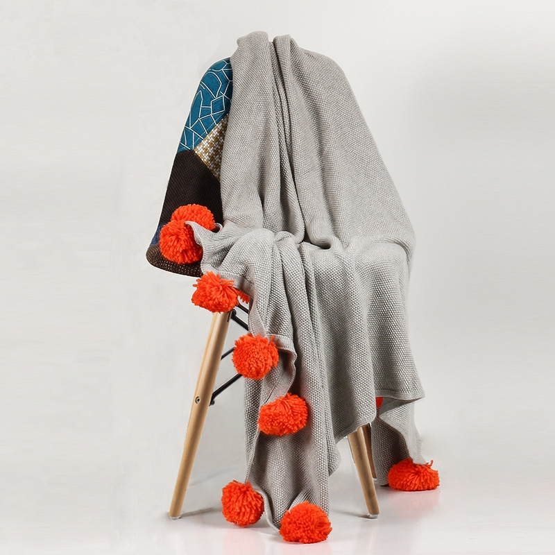 Contrast knitted Throw