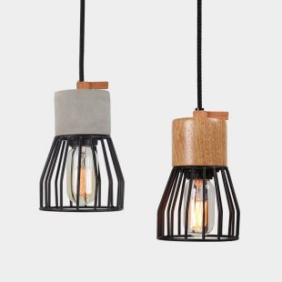Timber Concrete Metal Cage Pendant Light