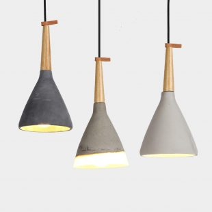 Timber Raw Concrete Pendant Light