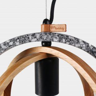 Timber Circular Terrazzo Concrete Pendant Light