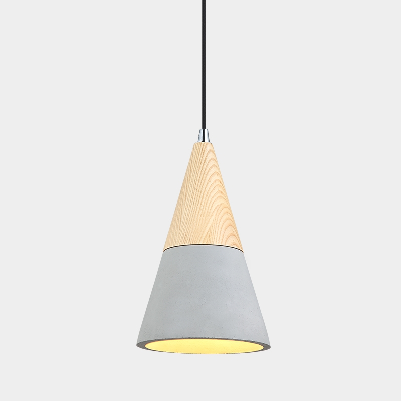 Cone Concrete Pendant Light-Grey