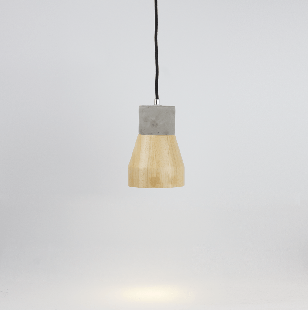 Set of Two Timber Concrete Contrast Pendant Light