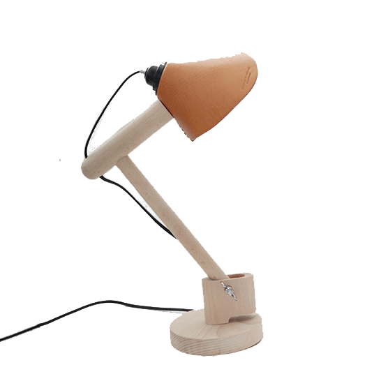 Leather Timber Table Lamp
